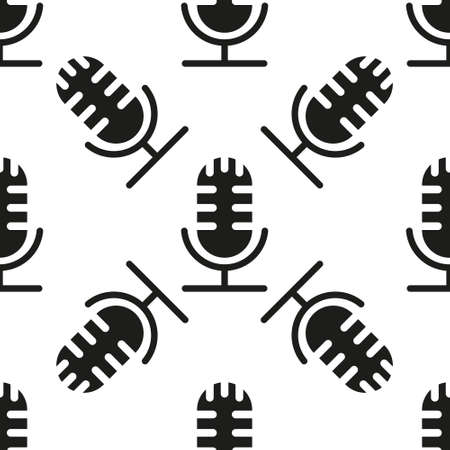 Black Microphone icon isolated seamless pattern on white background. On air radio mic microphone. Speaker sign. Vector Illustration eps10