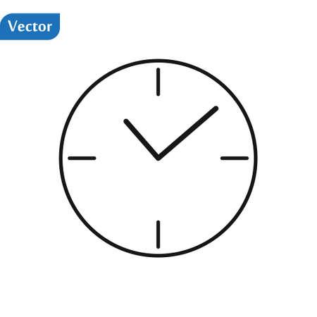 Clock icon isolated. Flat design. Vector Illustration