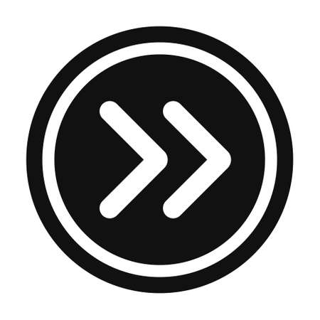 White Arrow Icon in circle. Web site, UI. math symbols glyph icon. Vector Illustration Illustration