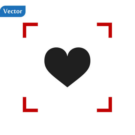 Black Heart icon in a red viewfinder isolated on white background. Conceptual vector illustration, easy to edit