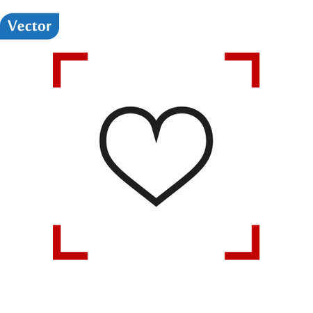 Black Line Heart icon in a red viewfinder isolated on white background. Conceptual vector illustration, easy to edit