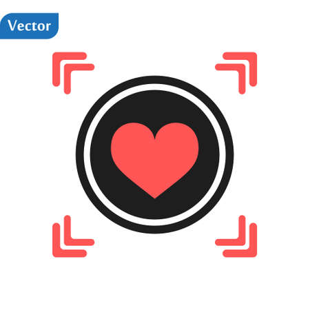 Red Heart icon in a red viewfinder isolated on white background. Conceptual vector illustration, easy to edit Illustration