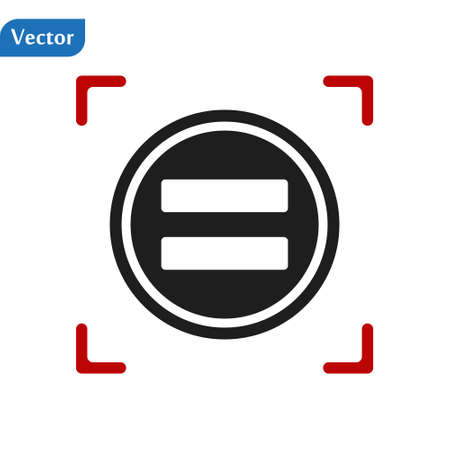 Equal sign in a red viewfinder isolated on white background. Conceptual vector illustration, easy to edit