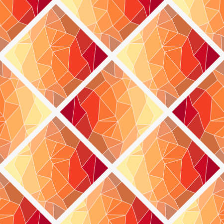 Dark orange, Yellow vector low poly texture seamless pattern. A sample with polygonal shapes. The best triangular design for your business Illustration