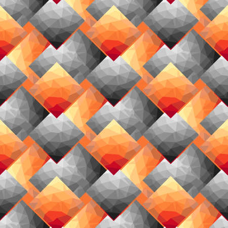 Dark orange, Yellow vector low poly texture seamless pattern. A sample with polygonal shapes. The best triangular design for business Illustration