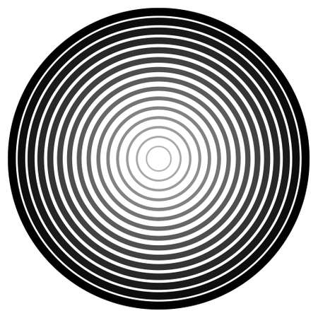 Concentric circle element. Black and white color ring. Abstract vector illustration for sound wave, Monochrome graphic