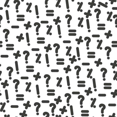 Vector seamless pattern with question marks. Monochrome hipster background. Black punctuation marks. eps 10