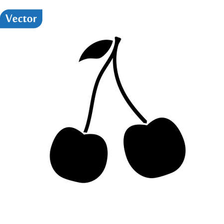 Cherry vector icon vector illustration isolated on white background