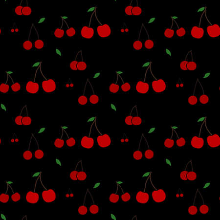 Red cherries seamless pattern. Repeatable background with tasty red cherries. Ripe berries at black background. Vector file is EPS10 Illustration