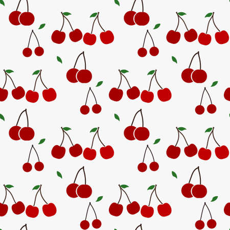 Seamless pattern with red cherries. Repeatable background with tasty cherries. Ripe berries at endless background. Food texture. Vector file is eps 10