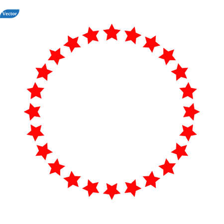 red star in circle icon on white background. flat style. red star in circle icon for your web site design, logo, app, UI. set of star circle symbol. red color wheel sign.  イラスト・ベクター素材