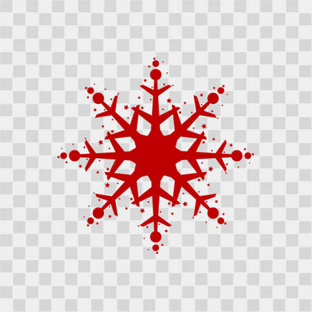 Snowflake icon. Red silhouette snow flake sign, isolated on white background. Flat design. Symbol of winter, frozen, Christmas, New Year holiday. Graphic element decoration. Vector illustration
