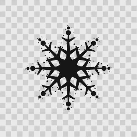 Snowflake icon. Black silhouette snow flake sign, isolated on gry background. Flat design. Symbol of winter, frozen, Christmas, New Year holiday. Graphic element decoration. Vector illustration eps10 Illustration