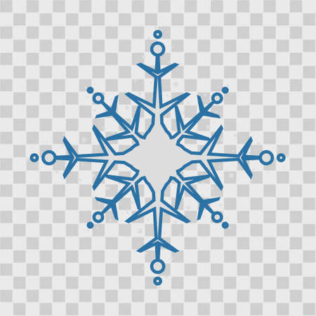 Snowflake icon. Blue silhouette snow flake sign, isolated on white background. Flat design. Symbol of winter, frozen, Christmas, New Year holiday. Graphic element decoration. Vector illustration