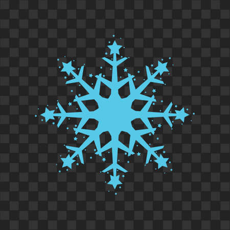 Snowflake icon. Blue silhouette snow flake sign, isolated on white background. Flat design. Symbol of winter, frozen, Christmas, New Year holiday. Graphic element decoration. Vector illustration eps 10 Illustration