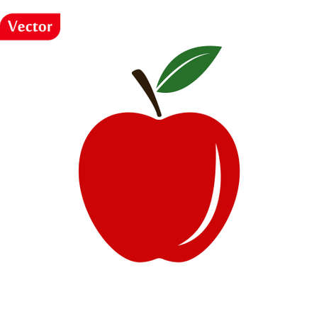 Red apple with leaf isolated on white background. Flat design vector illustration