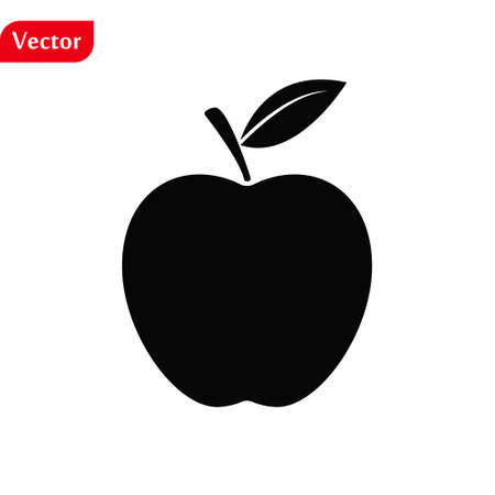 Apple Icon. Apple isolated black sign on white background. The symbol of the apple with a leaf. Vector illustration eps10 Illustration