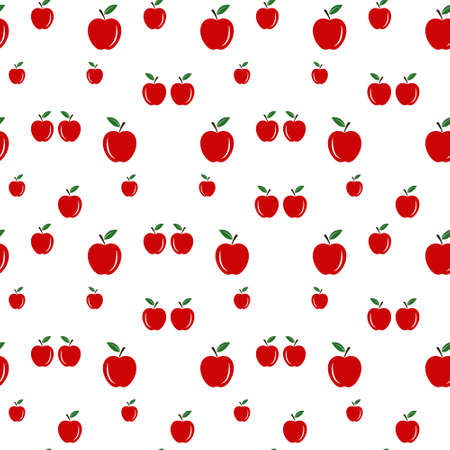 Red Apples Seamless Vector Pattern Tile. Repeating Print. Perfect for Back to School or Apple Picking or Food Packaging. Red Apples Randomly Arranged on White Background. Pattern Swatch is Included. Illustration