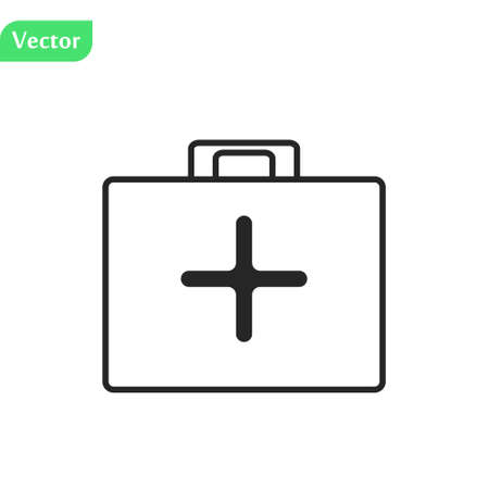 First aid kit isolated vector illustration, flat cartoon medical or pharmacy emergency kit icon, physician or healthcare bag pack idea, medic box