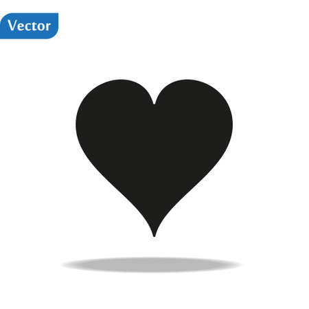 Heart Icon Vector. Vector image of a flat heart icon. Perfect Love symbol. Flat style for graphic and web design. Flat simple grey symbol on white background with shadow. eps10 Illustration