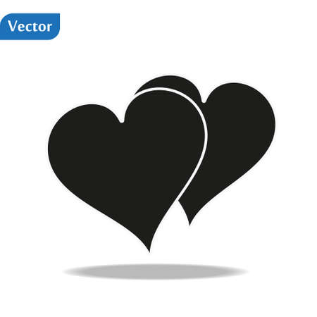 Heart Icon Vector. Vector image of a flat heart icon. Perfect Love symbol. Flat style for graphic and web design. Flat simple grey symbol on white background with shadow.