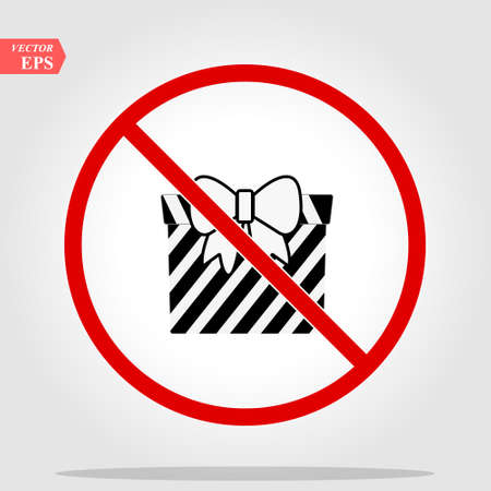 No Gift box sign icon. Present symbol. Red prohibition sign. Stop symbol. Vector eps 10
