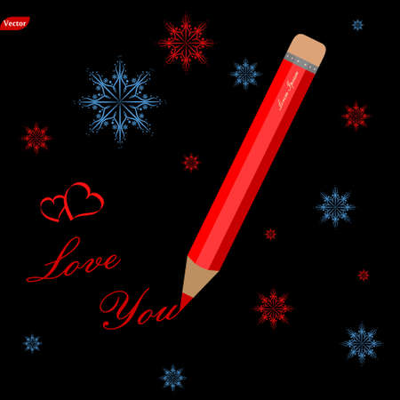 Red pencil with text forever with you and hearts, snowflake on black background Illustration