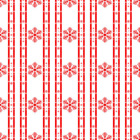Knitted seamless background. Red and white sweater pattern for Christmas or winter design. Traditional scandinavian ornament with place for text. Vector illustration. eps10 Archivio Fotografico - 137758022