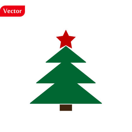 Christmas tree color green icon with red star, vector design.