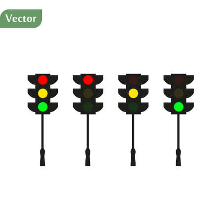 Set of traffic lights. Flat signal icons. Semaphore design. Vector illustration isolated on white background. eps10 Векторная Иллюстрация