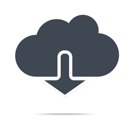 Cloud download icon. Download icon, digital cloud, music, video upload, media application, phone computer eps10