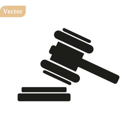 judge or auction hammer icon. EPS 10 illustration vector