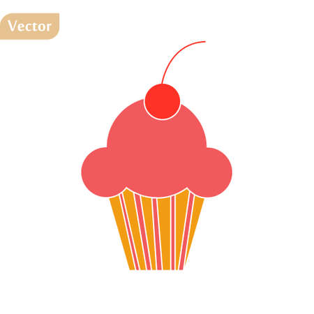 Cute cupcake icon in flat style isolated on white background. Vector illustration eps10