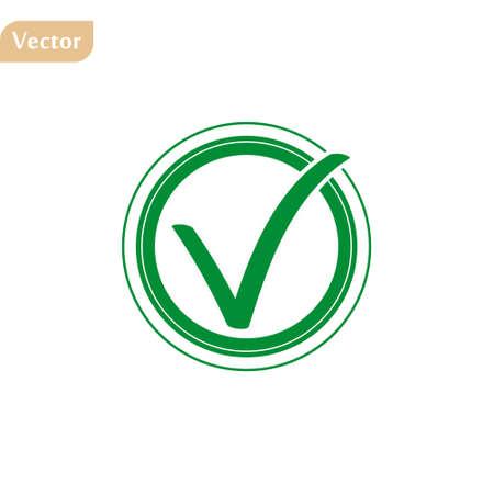 Green tick checkbox vector illustration isolated on white background eps10