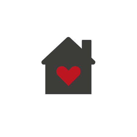 Real estate house logo concept with heart inside.   House of love icon, Valentines Day, flat design template, vector illustration Stock Illustratie