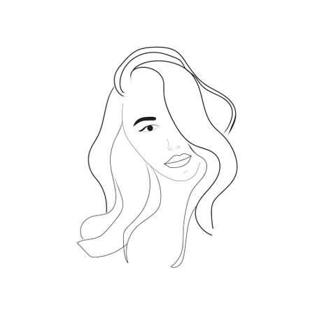 Fantasy Beautiful Woman Portrait with Long Wavy Hair Иллюстрация