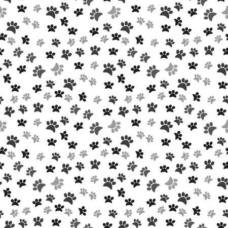 Dog paw print seamless pattern on white background