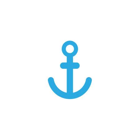 Anchor Nautical Blue Isolated on white background. Anchor vector logo icon maritime ocean sea boat illustration symbol Ilustração