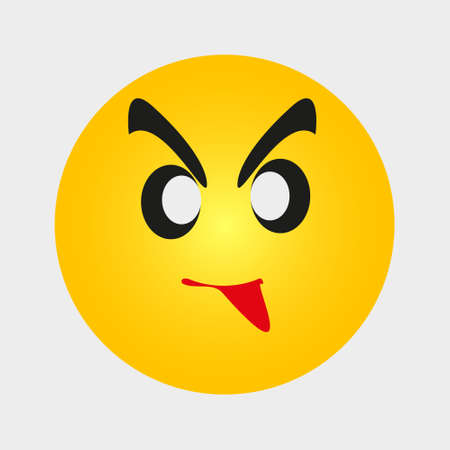 emoji emoticon with a grumpy expression. Yellow Angry Cartoon Face Emoji People Emotion Icon Flat Vector Illustration eps10