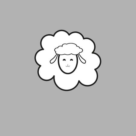 Vector sheep or ram icon, logo, template, pictogram. Modern emblem for market, internet, design, decoration. Trendy simple lamb or ewe symbol.