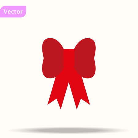 Red bow. Vector illustration on white background. Can be use for decoration gifts, greetings, holidays, etc. eps10