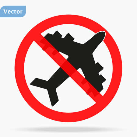 Stop travel. Forbidden sign Planes Don t Fly. Coronavirus covid-19. No Airplane black silhouette icon. Stop flight. Red prohibition. Flight cancellation. Vector flat design. Isolated white background.