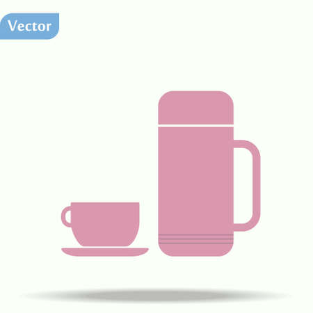 Pink thermo icon vector. thermo sign on white background. thermo icon for web and app