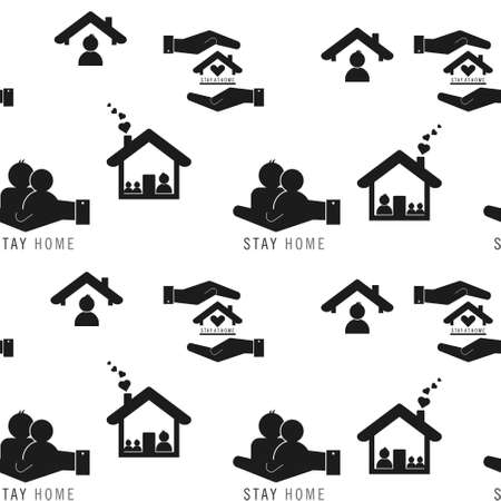 staying at home with self quarantine to help slow outbreak and protect virus spread. seamless repeating pattern background, illustration virus coronavirus 2019-nCoV on white background, Covid 19 Illustration