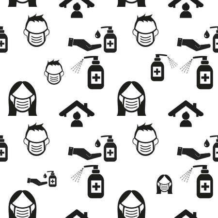 staying at home with self quarantine to help slow outbreak and protect virus spread. seamless repeating pattern background, illustration virus coronavirus 2019-nCoV on white background, Covid 19, Illustration