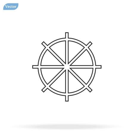 Line Ship steering wheel sign icon, vector illustration. Flat design style