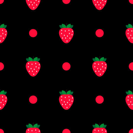 Seamless pattern with strawberries. Perfect for wallpapers, pattern fills, web page backgrounds, surface textures, textile. Çizim