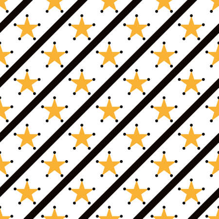 Yellow stars on white Seamless pattern Çizim