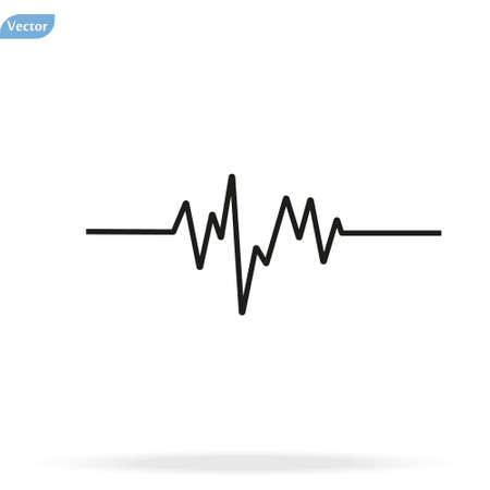 Pulse Heart Rate Vector Icon in flat style. Heart rate, pulse beat frequency icon, health chart, waveform, vector Çizim