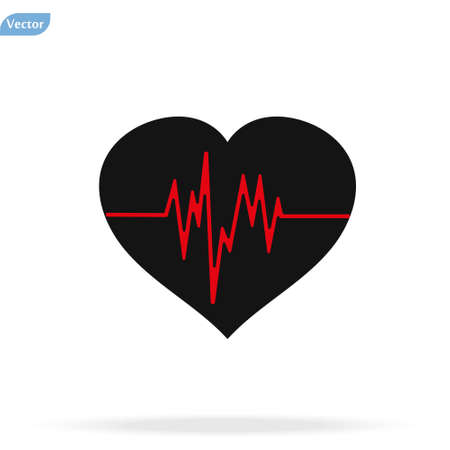 Heart beat icon vector illustration on white background Çizim